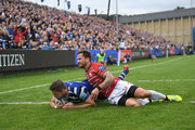 Gloucester player Danny Cipriani cant stop Bath player Elliott Stooke from scoring a try in the corner during the Gallagher Premiership Rugby match between Bath Rugby and Gloucester Rugby at Recreation Ground on September 8, 2018 in Bath, United Kingdom.