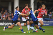 Gloucester player Danny Cipriani makes a break during the Gallagher Premiership Rugby match between Bath Rugby and Gloucester Rugby at Recreation Ground on September 8, 2018 in Bath, United Kingdom.