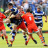 Brad Thorn Photos - Matt Banahan of Bath is tackled by Brad Thorn and Ben Youngs of Leicester during the Aviva Premiership Semi Final match between Bath Rugby and Leicester Tigers at Recreation Ground on May 23, 2015 in Bath, England. - Bath Rugby v Leicester Tigers - Aviva Premiership Semi Final