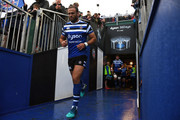 Jamie Roberts of Bath Rugby makes his way out for the start during the Pre Season Friendly match between Bath and Scarlets at the Recreation Ground on August 24, 2018 in Bath, England.