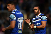 Jamie Roberts of Bath Rugby(R) reacts during the Pre Season Friendly match between Bath and Scarlets at the Recreation Ground on August 24, 2018 in Bath, England.