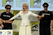 "Actress Julie Newmar (C) attends the ""Batman: The Complete Series"" DVD release presentation during Comic-Con International 2014 at the San Diego Convention Center on July 24, 2014 in San Diego, California."