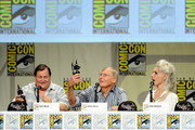 "(L-R) Actors Burt Ward, Adam West and Julie Newmar, recipients of Comic-Con International's Inkpot Awards, attend the ""Batman: The Complete Series"" DVD release presentation during Comic-Con International 2014 at the San Diego Convention Center on July 24, 2014 in San Diego, California."