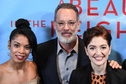 "(EXCLUSIVE COVERAGE) Susan Kelechi Watson, Tom Hanks and Marielle Heller attend the Photo Call for ""A Beautiful Day in the Neighborhood"" at Four Seasons Hotel New York Downtown on November 17, 2019 in New York City."