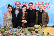 "(EXCLUSIVE COVERAGE) Susan Kelechi Watson, Tom Hanks, Marielle Heller, Matthew Rhys and Chris Cooper attend the Photo Call for ""A Beautiful Day in the Neighborhood"" at Four Seasons Hotel New York Downtown on November 17, 2019 in New York City."