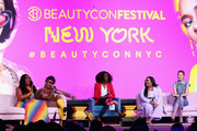 (L-R) Lizzo, Alok V. Menon, Dana L. Oliver, Nabela Noor and Irene Kim attends Beautycon Festival NYC 2018 - Day 1 at Jacob Javits Center on April 21, 2018 in New York City.