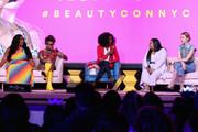 (L-R) Lizzo, Alok V. Menon, Dana L. Oliver, Nabela Noor and Irene Kim speak on a panel at Beautycon Festival NYC 2018 - Day 1 at Jacob Javits Center on April 21, 2018 in New York City.