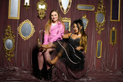 Allie Bennicas and Gabi DeMartino pose at Beautycon Festival New York 2019 at Jacob Javits Center on April 06, 2019 in New York City.