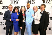 (L-R) The Broadway League Chairman Thomas Schumacher, The Broadway League President and CEO Charlotte St. Martin, Bebe Neuwirth, Brandon Victor Dixon, American Theatre Wing President and CEO Heather Hitchens, and American Theatre Wing ChaIrman David Henry Hwang attend as Bebe Neuwirth And Brandon Victor Dixon Host The 73rd Annual Tony Awards Nominations Announcement on April 30, 2019 in New York City.