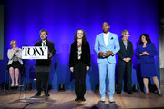 (L-R) American Theatre Wing President and CEO Heather Hitchens, American Theatre Wing Chairman David Henry Hwang, Bebe Neuwirth, Brandon Victor Dixon, The Broadway League Chairman Thomas Schumacher, and The Broadway League President and CEO Charlotte St. Martin onstage at The 73rd Annual Tony Awards Nominations Announcement on April 30, 2019 in New York City.