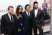 "Actors James Corden, Keira Knightley, Mark Ruffalo and Adam Levine attend the ""Begin Again"" premiere at SVA Theater on June 25, 2014 in New York City."
