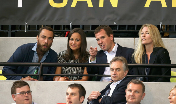 James Middleton, Pippa Middleton, Peter Phillips and Autumn Phillips watch the wheelchair rugby at the copperbox at Queen Elizabeth park on September 12, 2014 in London, England. The International sports event for 'wounded warriors', is presented by Jaguar Land Rover, with limited last-minute tickets available at www.invictusgames.org.