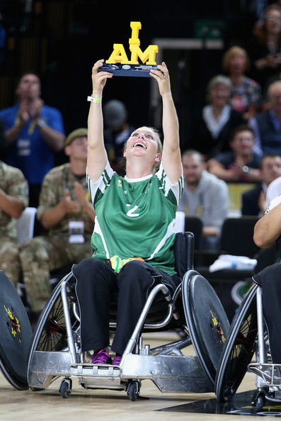 Zara Phillips competes with Mike Tindall during an Exhibition wheelchair rugby match at the Copper Box ahead of tonight's exhibition match as part of the Invictus Games at Queen Elizabeth park on September 12, 2014 in London, England. The International sports event for 'wounded warriors', presented by Jaguar Land Rover, is just days away with limited last-minute tickets available at www.invictusgames.org