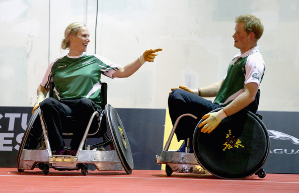 Zara Phillips and Prince Harry compete against each other in a warm up wheelchair rugby match ahead of tonight's exhibition match as part of the Invictus Games at Queen Elizabeth park on September 12, 2014 in London, England. The International sports event for 'wounded warriors', is presented by Jaguar Land Rover, with limited last-minute tickets available at www.invictusgames.org.