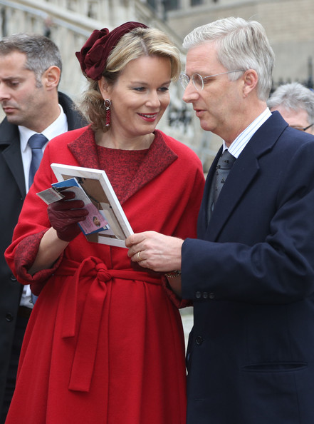 Princess Mathilde and Prince Philippe of Belgium greet the crowd at Cathedrale des Saints-Michel-et-Gudule on November 15, 2012 in Brussels, Belgium.