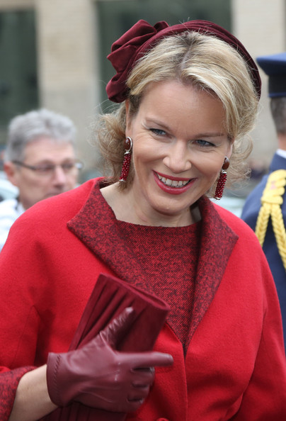 Princess Mathilde of Belgium greets the crowd at Cathedrale des Saints-Michel-et-Gudule on November 15, 2012 in Brussels, Belgium.