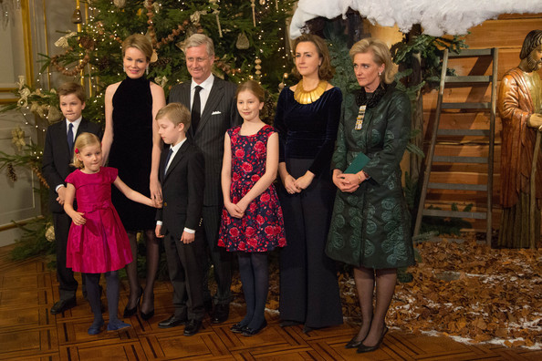 Prince Gabriel, Princess Eleonore, Queen Mathilde, Prince Emmanuel, King Philippe of Belgiuim, Princess Elisabeth, Princess Claire and Princess Astrid of Belgium attend the Xmas Concert at the Royal Palace on December 17, 2014 in Brussel, Belgium.