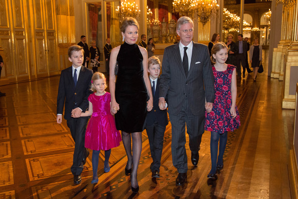 Prince Gabriel, Princess Eleonore, Queen Mathilde, Prince Emmanuel, King Philippe of Belgiuim and Princess Elisabeth of Belgium attend the Xmas Concert at the Royal Palace on December 17, 2014 in Brussel, Belgium.
