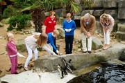 Princess Eleonore, Princess Elisabeth, Prince Emmanuel, Prince Gabriel, King Philippe and Queen Mathilde of Belgium visit Sealife on July 12, 2014 in Blankenberge, Belgium.