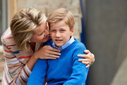 Queen Mathilde and Prince Gabriel of Belgium visit Sealife on July 12, 2014 in Blankenberge, Belgium.