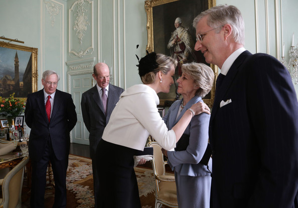 Queen Mathilde of Belgium (C) is greeted by Birgitte, Duchess of Gloucester, as King Philippe of Belguim (R), Prince Richard, Duke of Gloucester (L) and Prince Edward, Duke of Kent (centre left) look on during a visit to Buckingham Palace on March 13, 2014 in London, England. King Philippe and Queen Mathilde of Belgium are on an official one day trip to London.