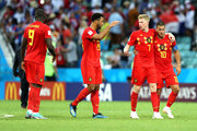 Kevin De Bruyne embraces Eden Hazard of Belgium whilst shaking Mossua Dembele's hand in victory following the 2018 FIFA World Cup Russia group G match between Belgium and Panama at Fisht Stadium on June 18, 2018 in Sochi, Russia.
