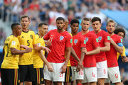England and Belgium players wait for free kick during the 2018 FIFA World Cup Russia 3rd Place Playoff match between Belgium and England at Saint Petersburg Stadium on July 14, 2018 in Saint Petersburg, Russia.