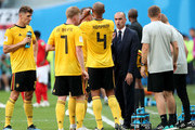 Roberto Martinez, Head coach of Belgium speaks with Vincent Kompany of Belgium during the 2018 FIFA World Cup Russia 3rd Place Playoff match between Belgium and England at Saint Petersburg Stadium on July 14, 2018 in Saint Petersburg, Russia.