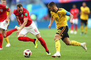 Eden Hazard of Belgium runs with the ball during the 2018 FIFA World Cup Russia 3rd Place Playoff match between Belgium and England at Saint Petersburg Stadium on July 14, 2018 in Saint Petersburg, Russia.