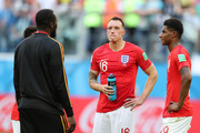 Romelu Lukaku of Belgium talks with Manchester United teammates Jesse Lingard, Phil Jones and Marcus Rashford of England as they wait for medal presentation following the 2018 FIFA World Cup Russia 3rd Place Playoff match between Belgium and England at Saint Petersburg Stadium on July 14, 2018 in Saint Petersburg, Russia.