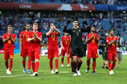 The Belgium team applauds fans after the 2018 FIFA World Cup Russia group G match between Belgium and Panama at Fisht Stadium on June 18, 2018 in Sochi, Russia.