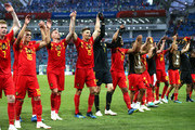 Belgium players acknowledges the fans following the 2018 FIFA World Cup Russia group G match between Belgium and Panama at Fisht Stadium on June 18, 2018 in Sochi, Russia.