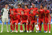 Belgium players pose for a team photo during the 2018 FIFA World Cup Russia Semi Final match between Belgium and France at Saint Petersburg Stadium on July 10, 2018 in Saint Petersburg, Russia.