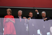 (L-R) Belgium's  Queen Mathilde, Belgium's King Philippe, French President Emmanuel Macron and french  Foreign Minister Didier Reynders attend the 2018 FIFA World Cup Russia Semi Final match between Belgium and France at Saint Petersburg Stadium on July 10, 2018 in Saint Petersburg, Russia.
