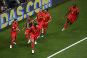 Marouane Fellaini of Belgium celebrates with team mates after scoring his team's second goal during the 2018 FIFA World Cup Russia Round of 16 match between Belgium and Japan at Rostov Arena on July 2, 2018 in Rostov-on-Don, Russia.