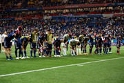 The Japan team show their appreciation to their fans following their defeat in the 2018 FIFA World Cup Russia Round of 16 match between Belgium and Japan at Rostov Arena on July 2, 2018 in Rostov-on-Don, Russia.
