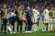 Japan players shows appreciation to the fans following their sides defeat in the 2018 FIFA World Cup Russia Round of 16 match between Belgium and Japan at Rostov Arena on July 2, 2018 in Rostov-on-Don, Russia.