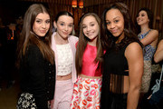 (L-R) Dancers Kalani Hilliker, Kendall Vertes, Maddie Ziegler and Nia Sioux Frazier attend Miss Me and Cosmopolitan's Spring Campaign Launch Event Hosted by Bella Thorne at The Terrace at Sunset Tower Hotel in Los Angeles on February 3, 2016.