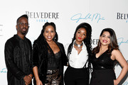 "Fahamu Pecou, Janelle Monae,  Nikishka Iyengar, and Christina Rice pose for a photo as Belvedere Vodka and Janelle Monae present ""A Beautiful Future"" at The Fairmont on December 05, 2019 in Atlanta, Georgia."