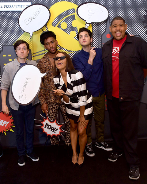 Pizza Hut Lounge at 2018 Comic-Con International: San Diego [youth,event,photography,drum,talent show,actors,josh brener,ben schwartz,omar miller,brandon mychal smith,kat graham,pizza hut lounge,andaz san diego,california,comic-con international: san diego]