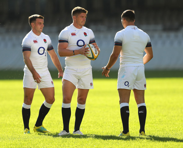 England Media Access [player,team sport,ball game,football player,sports,sports equipment,tournament,team,soccer,football,george ford,owen farrell,ben youngs,media access,l-r,durban,south africa,kings park stadium,england,training session]