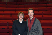 Benedict Cumberbatch poses with the new LAMDA Director, Sarah Frankcom, at LAMDA on February 28, 2019 in London, England.