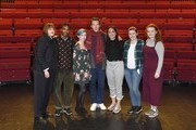 Benedict Cumberbatch poses with drama students after welcoming the new LAMDA Director, Sarah Frankcom, at LAMDA on February 28, 2019 in London, England.