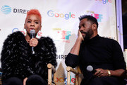 Colman Domingo (R) listens as Anika Noni Rose speaks at the second annual Cocktails and Conversation event presented by the Bentonville Film Festival and Google at the DirecTV Lodge presented by AT&T during Sundance Film Festival 2018 on January 20, 2018 in Park City, Utah.