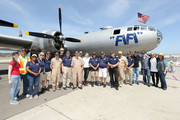 "Patrick Fabian, Rhea Seehorn, Vince Gilligan, Peter Gould and Micheal Mando pose for a photo with the ""Fifi"" B29 flight crew during the 'Better Call Saul' meet and greet/autograph signing in support of ""FiFi"" on April 23, 2017 in Camarillo, California."