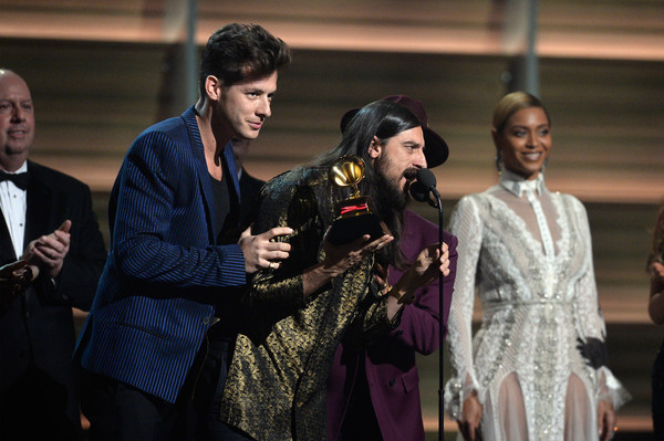 The 58th GRAMMY Awards - Show [event,fashion,performance,scene,fashion design,drama,opera,acting,mark ronson,bruno mars,jeff bhasker,singer beyonce,l-r,california,los angeles,staples center,show,grammy awards]