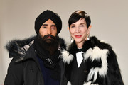 Waris Ahluwalia and Amy Fine Collins attend the Bibhu Mohapatra front row during New York Fashion Week: The Shows at Gallery II at Spring Studios on February 9, 2018 in New York City.
