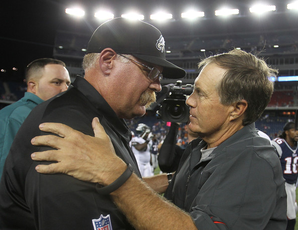 Philadelphia Eagles v New England Patriots [event,championship,coach,competition event,sport venue,games,gesture,crowd,referee,andy reid,bill belichick,foxboro,massachusetts,gillette stadium,philadelphia eagles,new england patriots,preseason game]