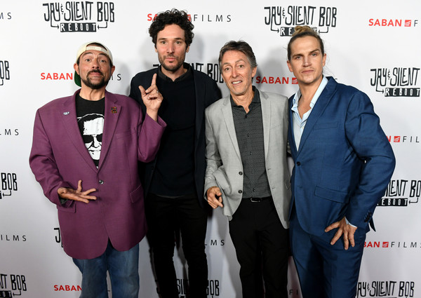 """Saban Films' """"Jay & Silent Bob Reboot"""" Los Angeles Premiere - Red Carpet [jay silent bob reboot,saban films,red carpet,premiere,event,white-collar worker,suit,fictional character,jonathan saba,bill bromiley,jason mewes,kevin smith,l-r,los angeles,premiere]"""