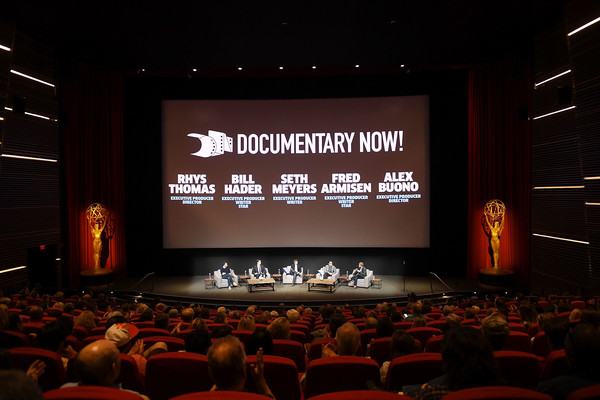 FYC Event for IFC's 'Brockmire' And 'Documentary Now!' - Inside [stage,projection screen,auditorium,theatre,convention,academic conference,event,display device,technology,projector accessory,rhys thomas,alex buono,actors,documentary now,brockmire,l-r,ifc,executive producer,fyc,fyc event]
